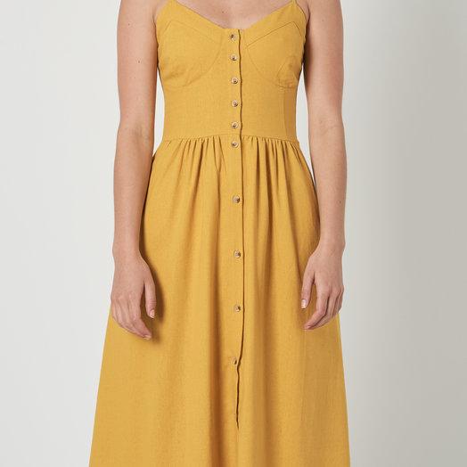 Rollas Eve Linen Dress, Gold