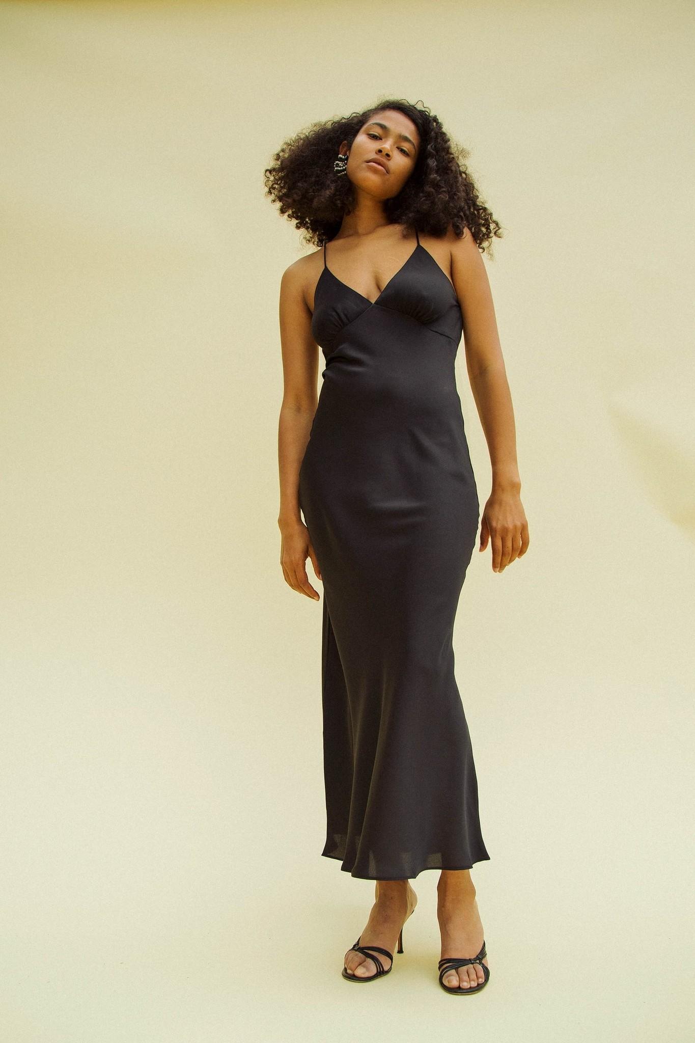 Line by K Florence Slip Dress, Black