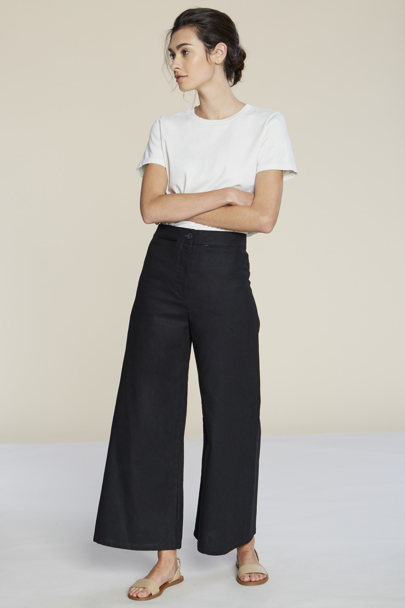 Filosofia Lexi Canvas Wide Pants, Black