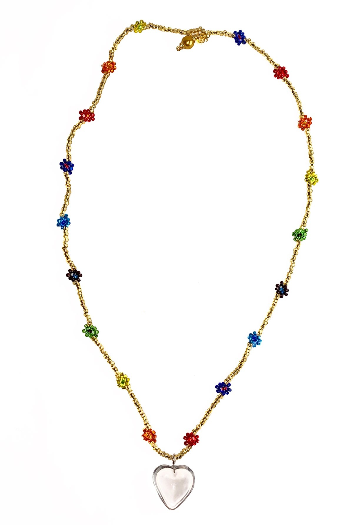 TUZA Chaquira Heart Necklace, Gold