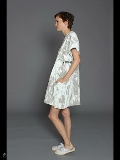 Uzi NYC V Dress, Stone Bark