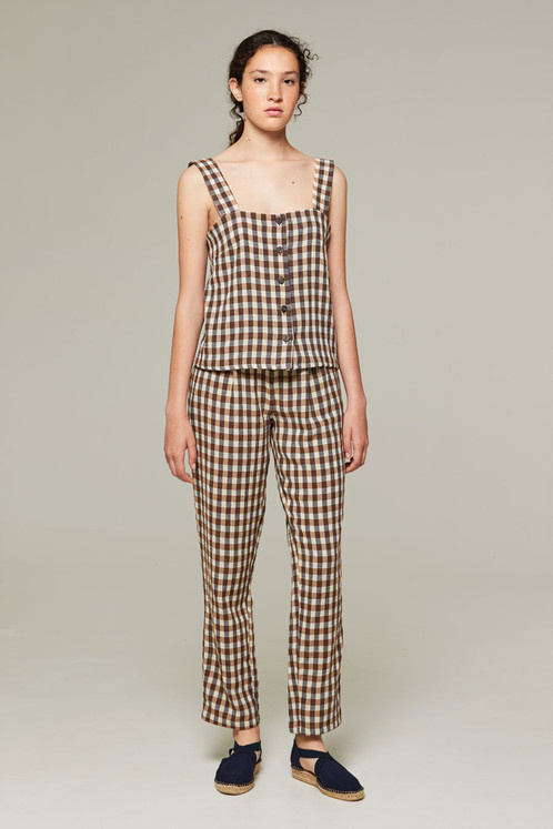 Rita Row Brown Gingham Top