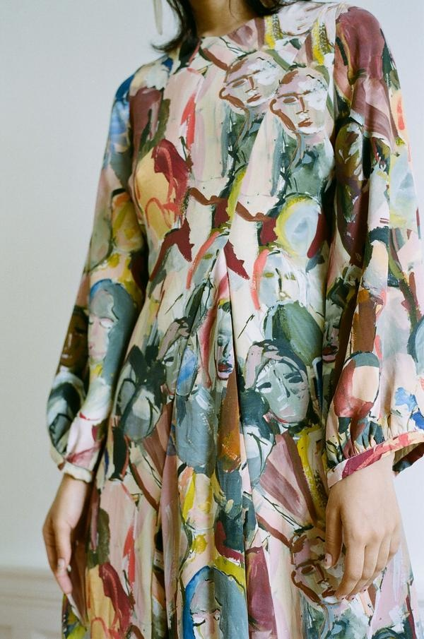 Wray Date Dress, Faces Print