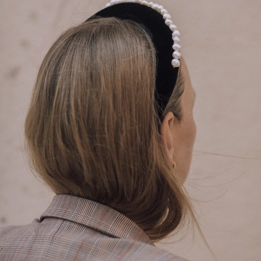 Wald Lady Di Black Velvet Headband, with Pearls