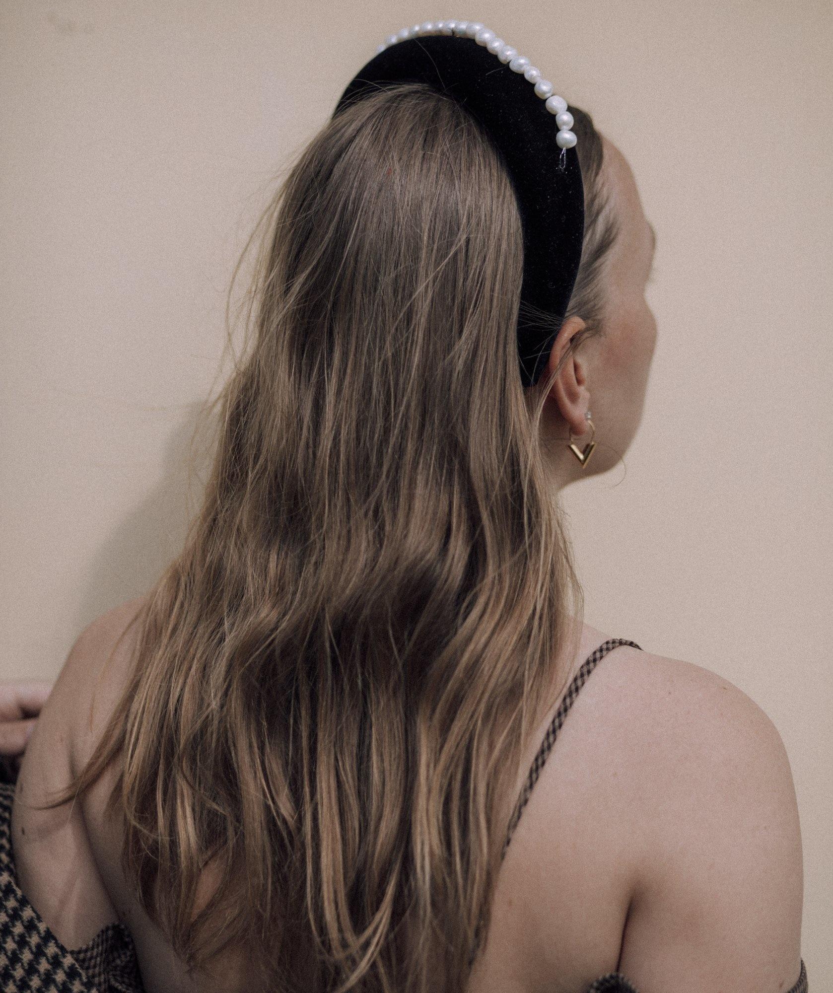 Wald Berlin Lady Di Black Velvet Headband, with Pearls