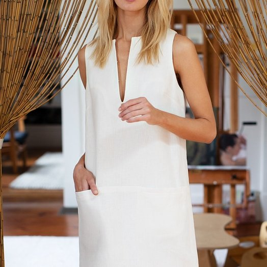 Emerson Fry Shift Dress, White Linen