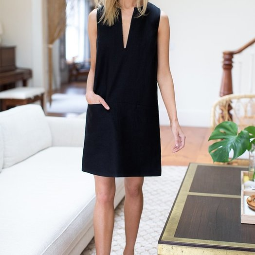 Emerson Fry Shift Dress, Black Linen