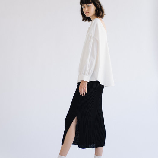 Mijeong Park Ribbed Knit Skirt, Black