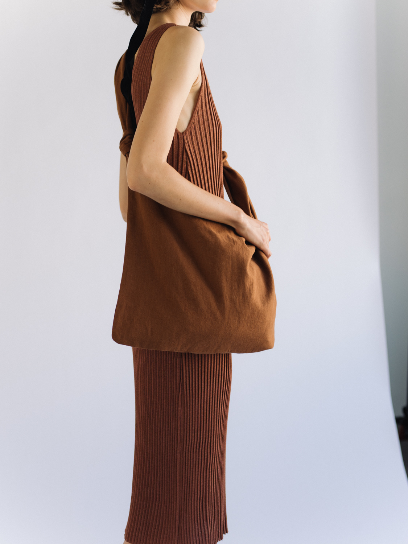 Mijeong Park Sleeveless Ribbed Knit Dress, Brick