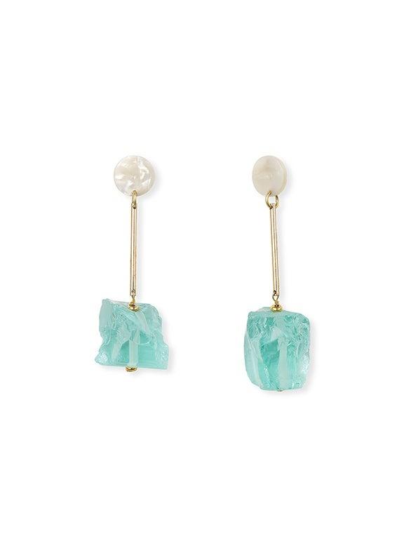 IUO Ice Cube Earrings, Aqua