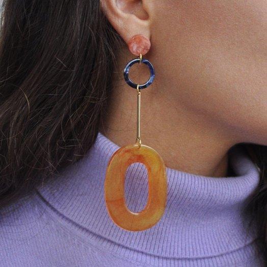 IUO Oblong Earrings, Amber