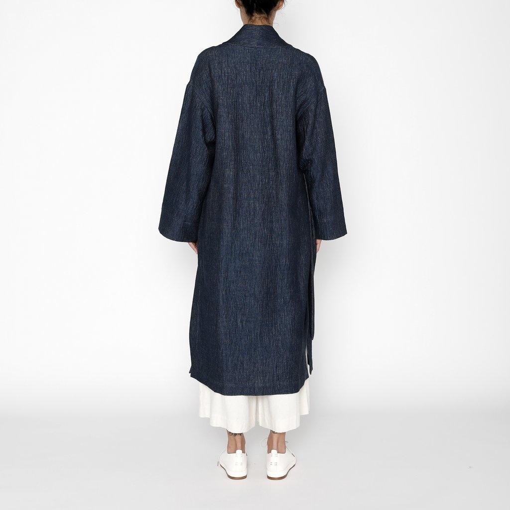 7115 by SZEKI Karate Long Coat, 70% Cotton, 30% Linen, Indigo