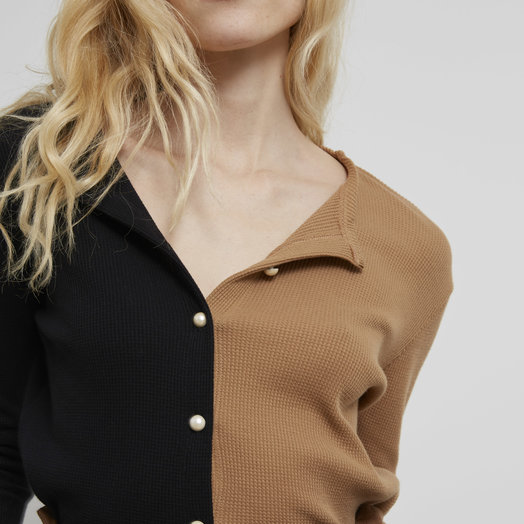 Donni Thermal Duo Cardigan, Camel/ Black