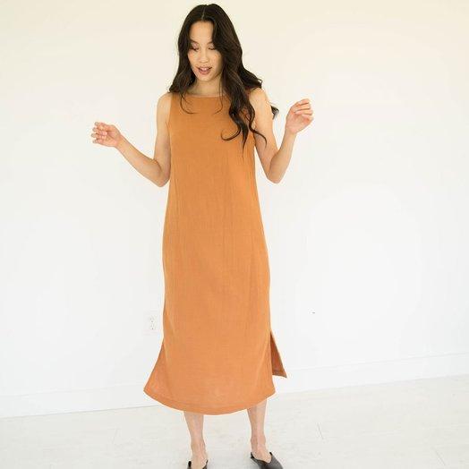 Suunday Tank Gauze Dress, Meerkat