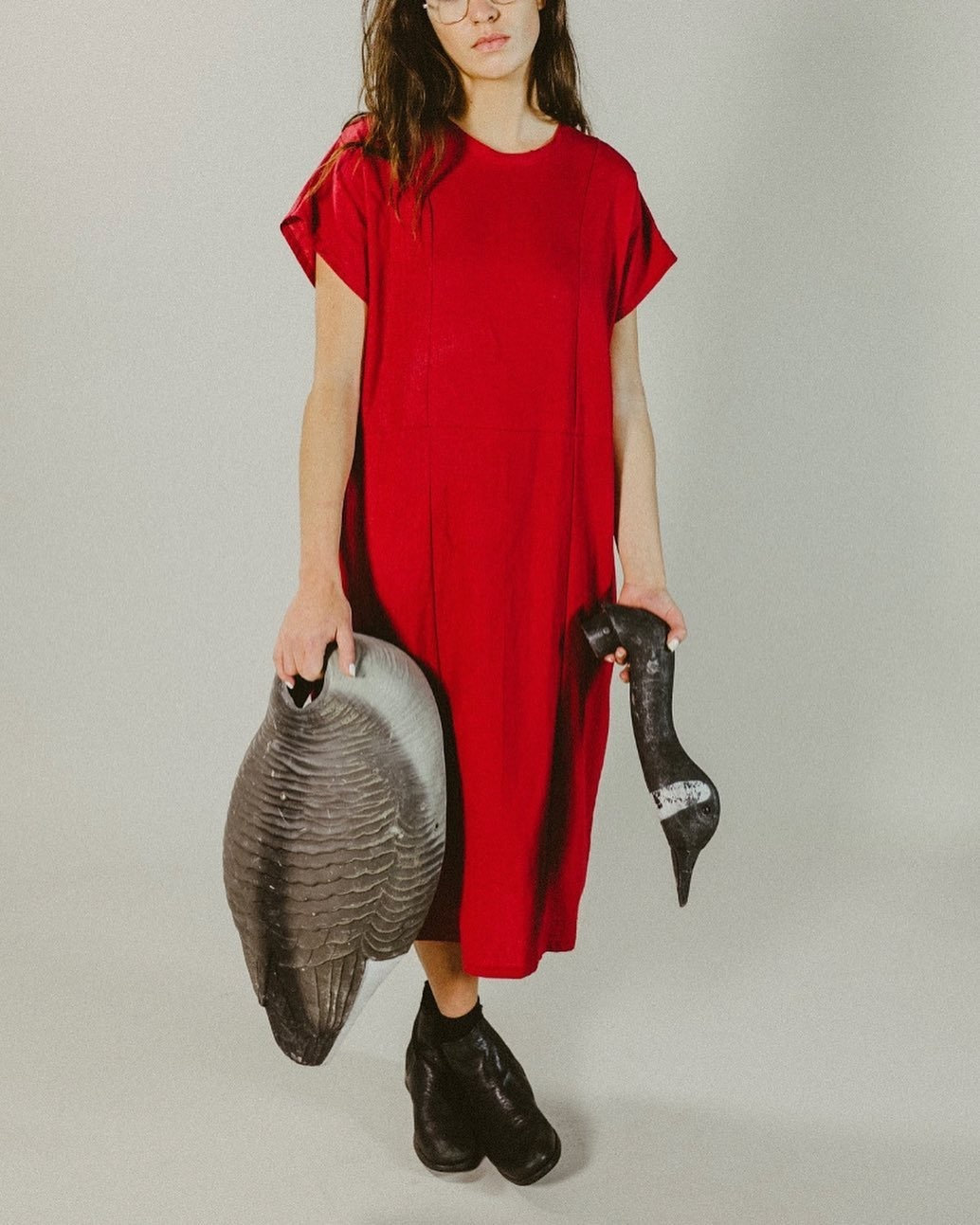 The General Public Covey Dress, Red Linen