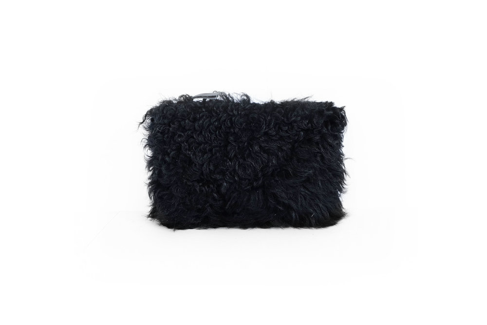PrimeCut Black Curly Shearling Pouch