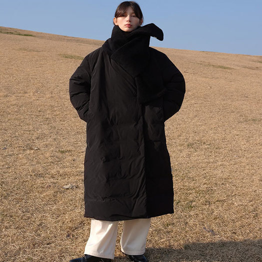 Amomento Duck Down Puffer Coat, Black, One Size Fits All