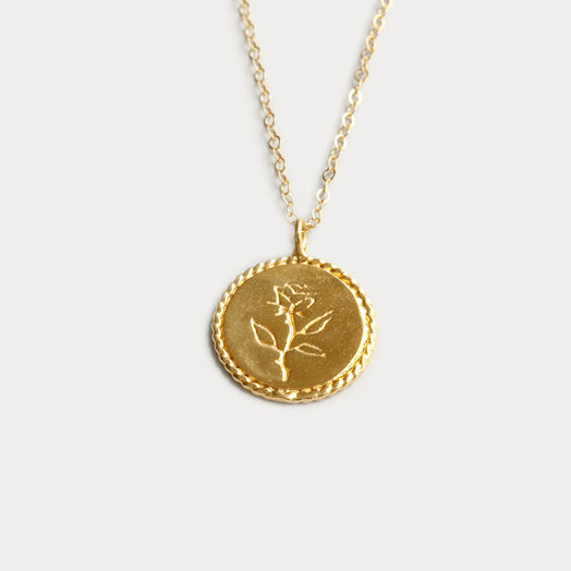 Wolf Circus Rose Coin Necklace, Gold