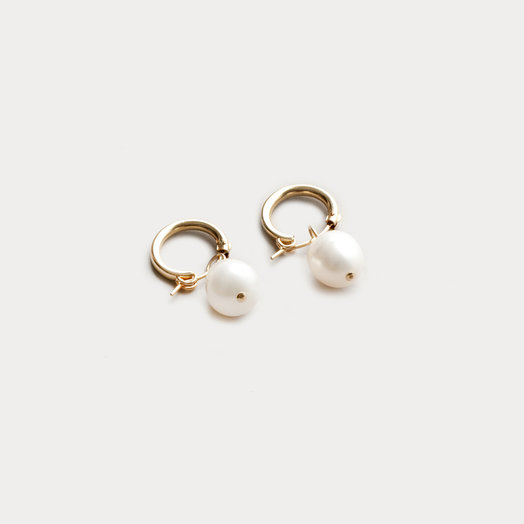 Wolf Circus Pearl Hoops, Small, Gold