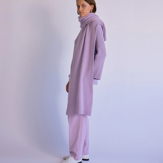 Mijeong Park Ribbed Knit Top with Scarf, Lavender