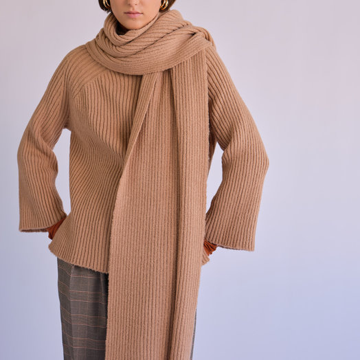 Mijeong Park Ribbed Knit Top with Scarf, Camel
