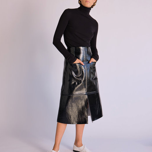 Mijeong Park Patent Faux Leather Skirt, Black