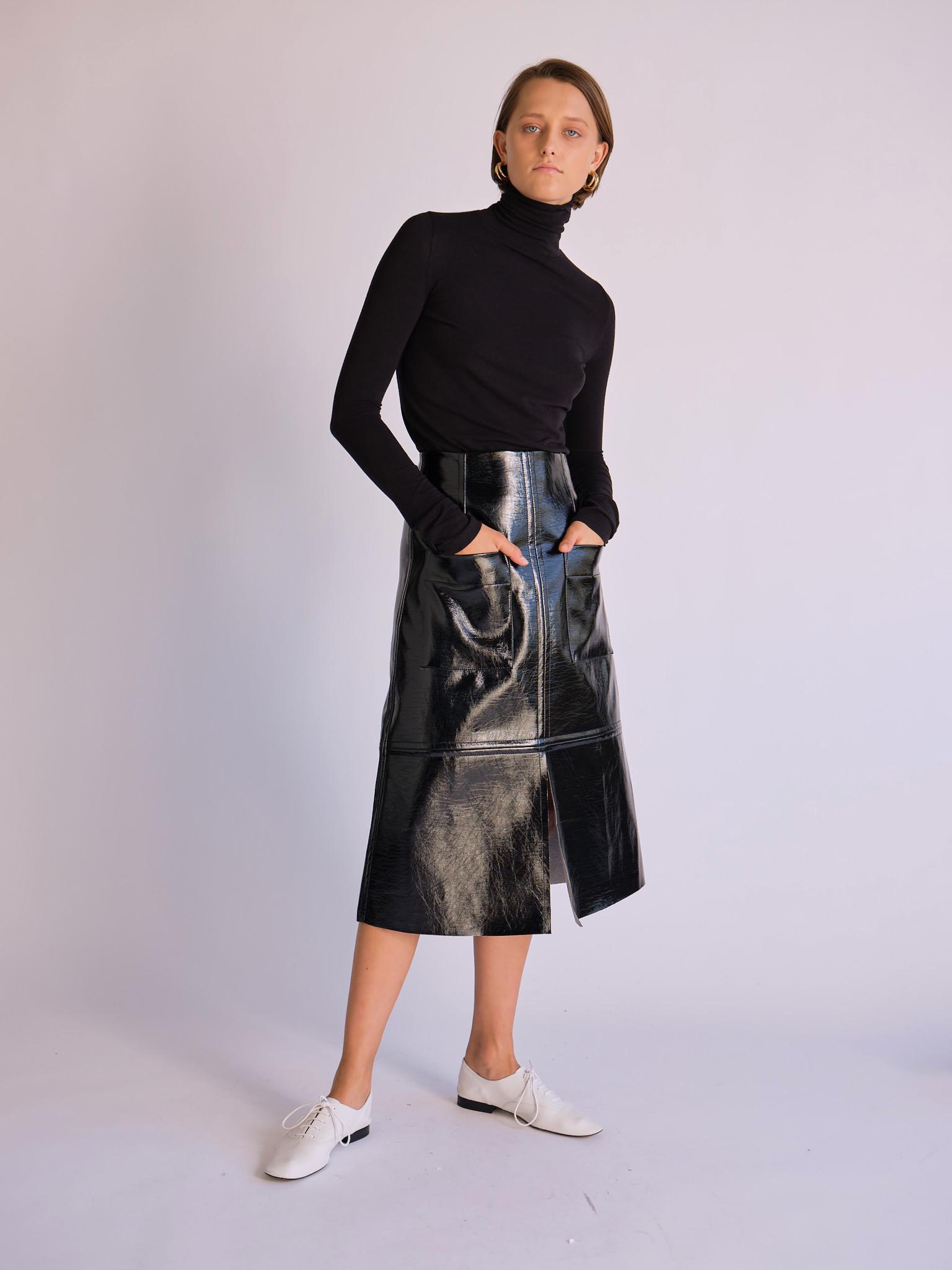 Mijeong Park Patent Faux Leather Skirt, Black