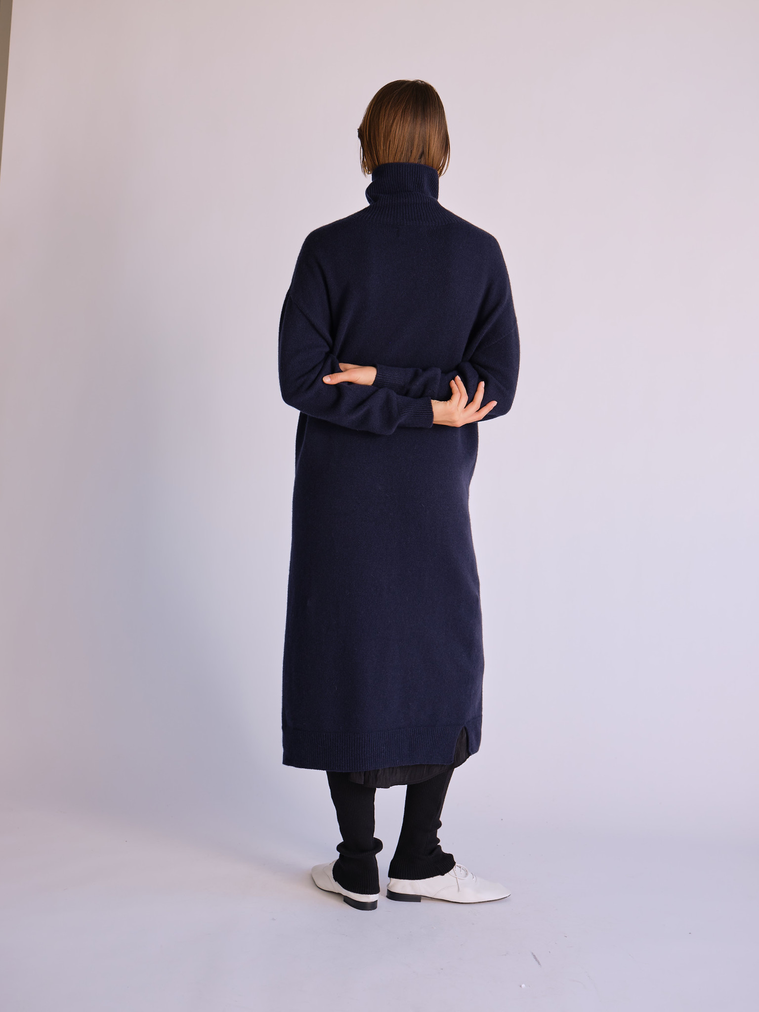Mijeong Park Turtleneck Knit Dress, Navy