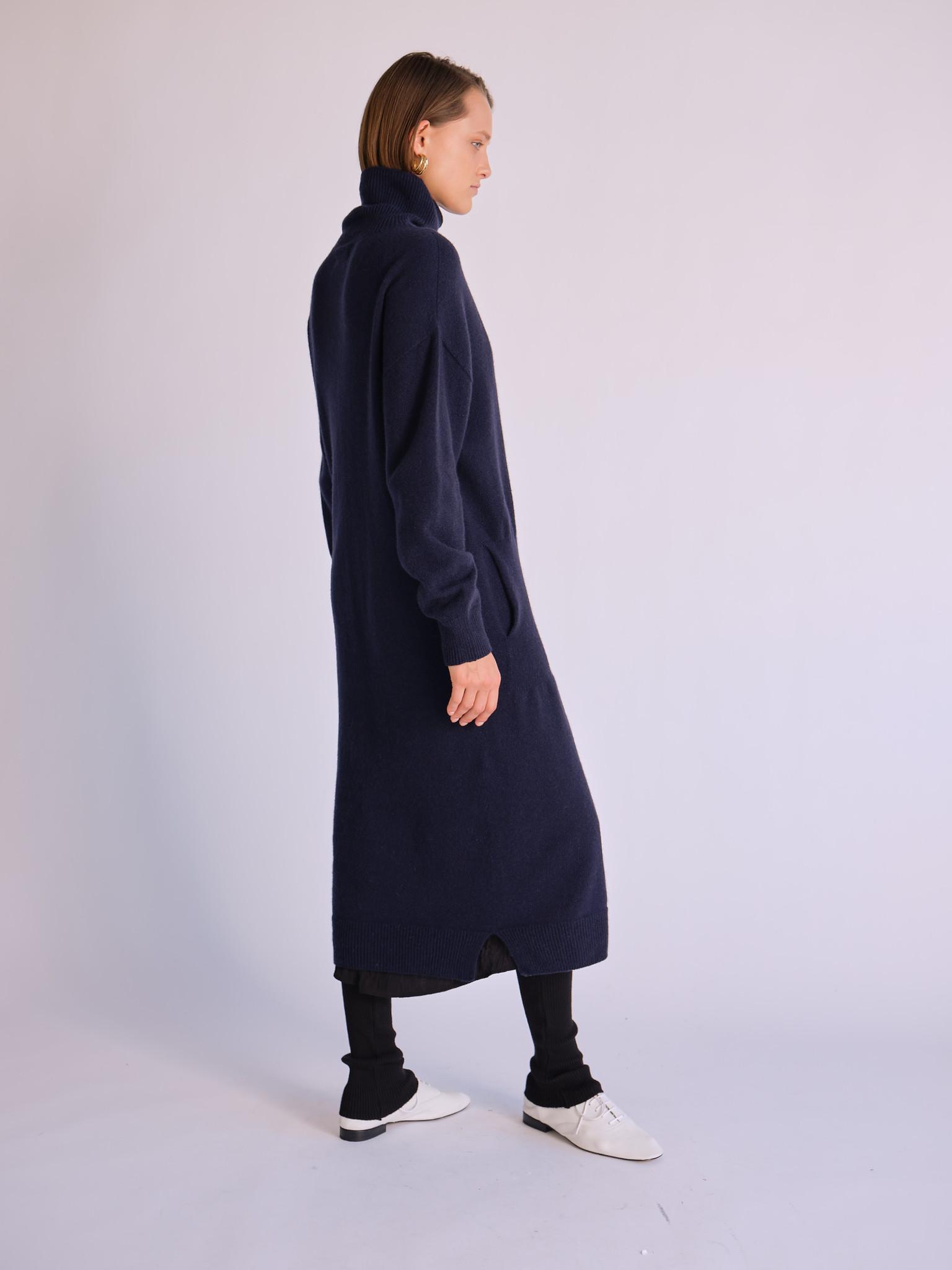 Mijeong Park Turtleneck Knit Dress, Navy