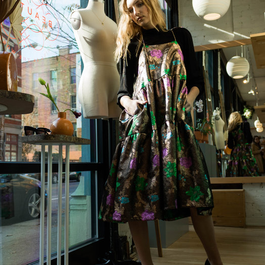 Eliza Faulkner Cece Jacquard Dress, Copper Print