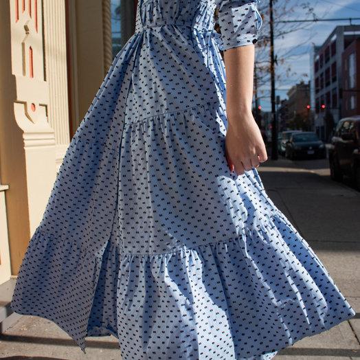 Baum Und Pferdgarten Aymeline Dress in Blue with Brown Dots