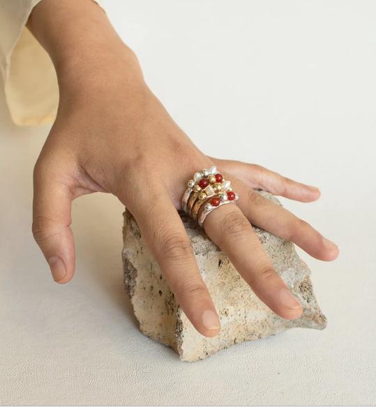 ORA-C Sylvaine Pearl Ring, Brass