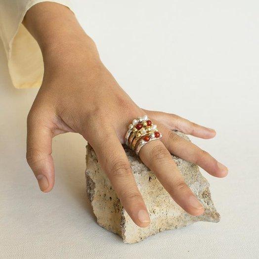 ORA-C Sylvaine Pearl Ring, Silver