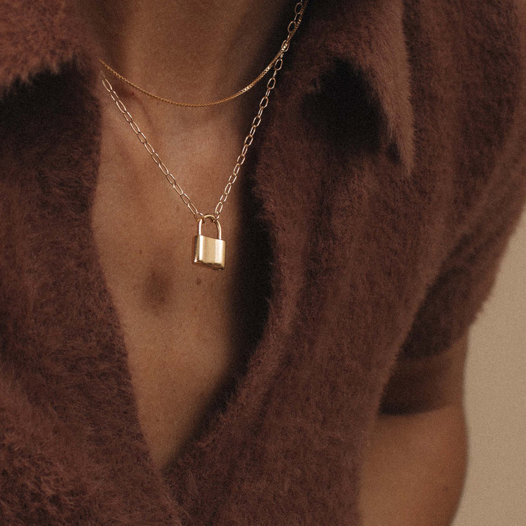 "Merewif Holmes Padlock Necklace, 18"""