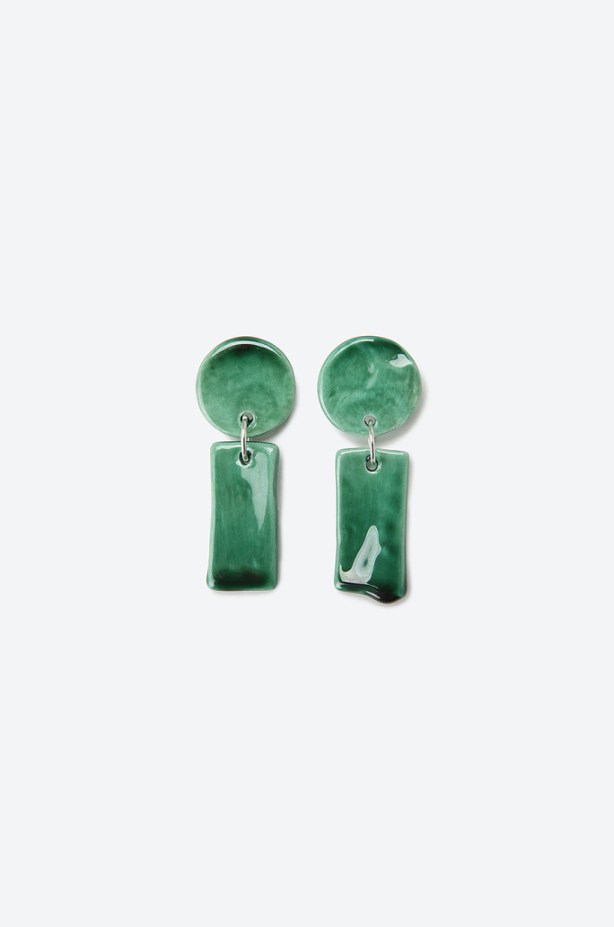 Levens Je Vert Earrings, Clay and Gold Plated Brass