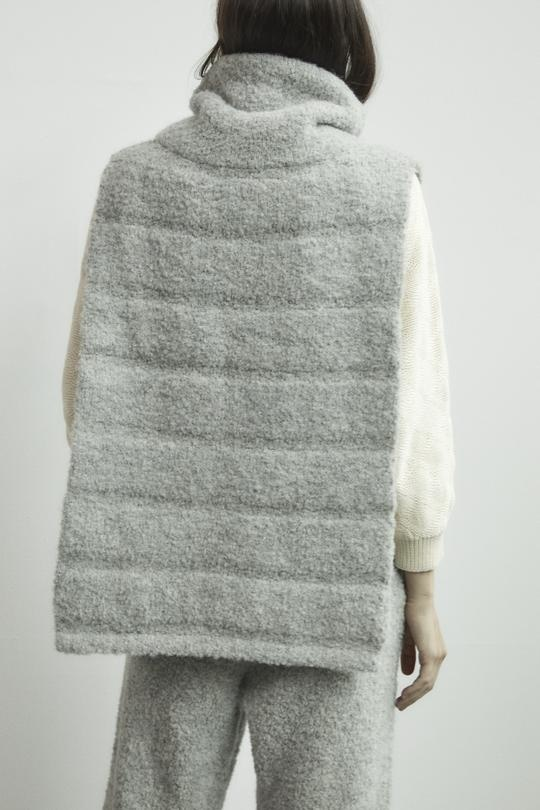 Wol Hide Quilted Poncho, Heather Grey