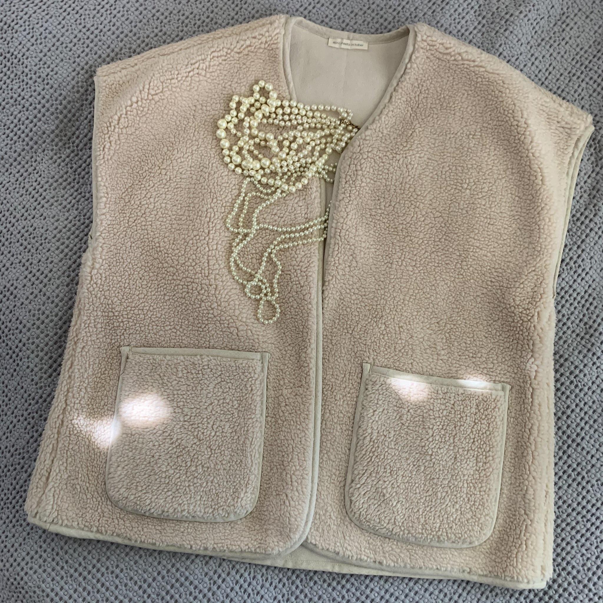 April Meets October November Vest, Oat, One Size Fits All