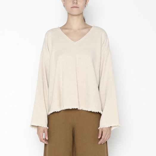 7115 by SZEKI Frayed Edge Pullover, Oatmeal