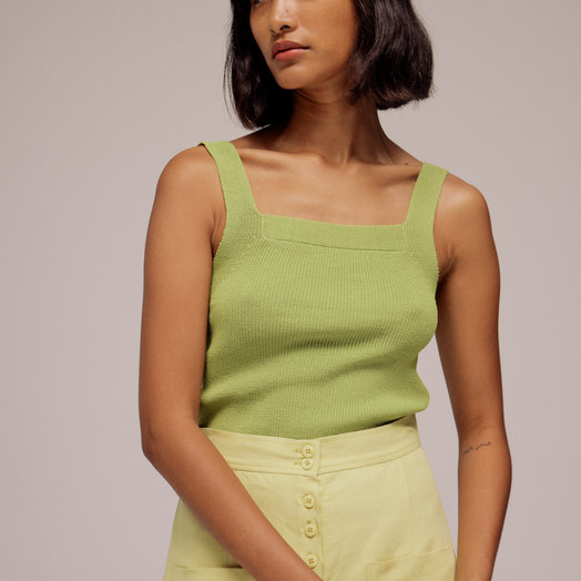 Mijeong Park Strap Knit Top, Light Green