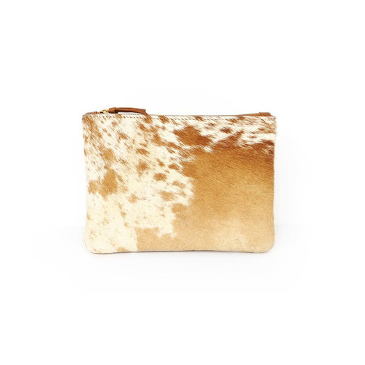PrimeCut Cowhide Coin Purse with Wristlet,  Caramel Speckled
