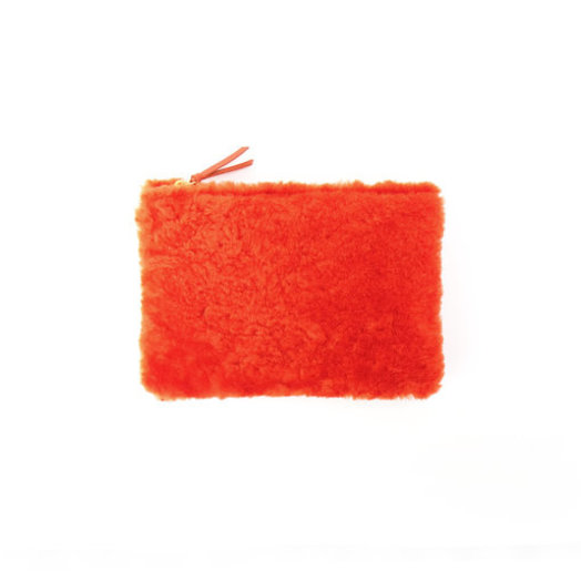 PrimeCut Shearling Coin Purse with Wristlet,  Cheeto Orange