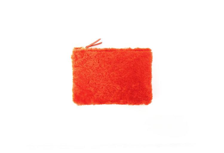 PrimeCut Shearling Coin Purse with Wristlet,  Cheeto Orange