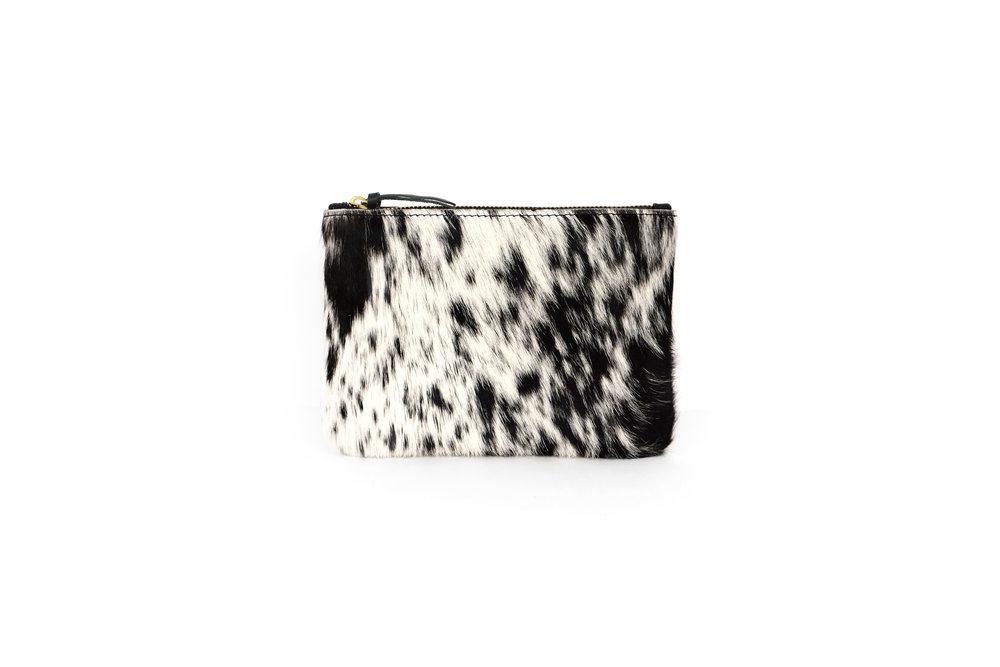 PrimeCut Cowhide Coin Purse with Wristlet,  Salt and Pepper Cowhide