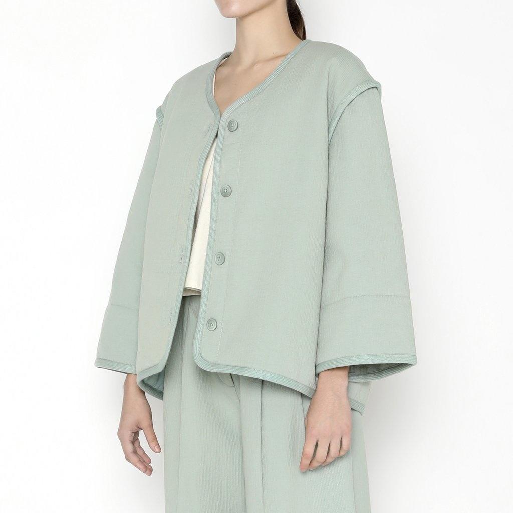 7115 by SZEKI Spring Quilted Jacket, Aqua
