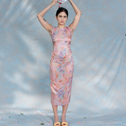 Anntian Dress, Easy Living 64-08 K, Print K-Pink Bouquet One Size Fits All