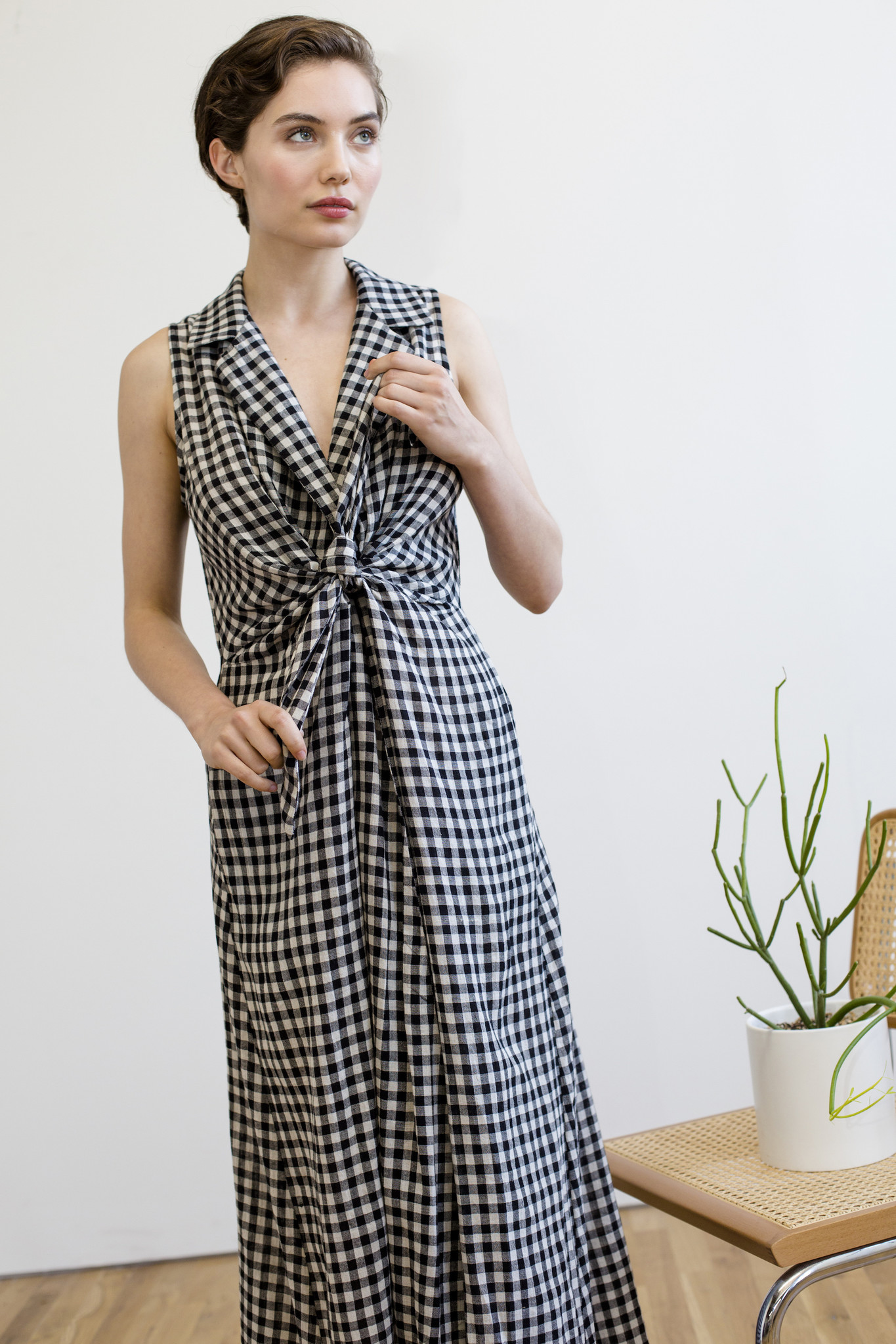 Rujuta Sheth Emily Dress, Black and White Check