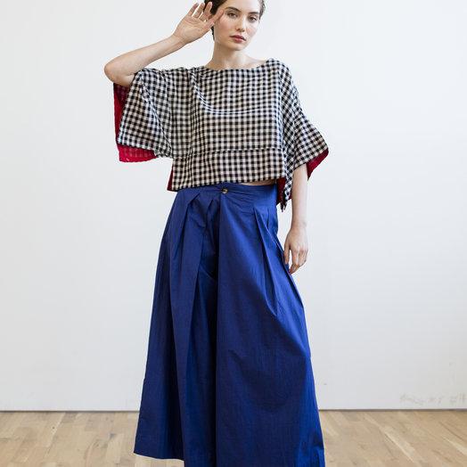 Rujuta Sheth Mira Kimono Top, Black and White Check