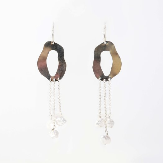 Chertova Penny Lane Earrings with Pearls, Sterling Silver