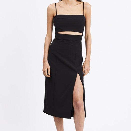 Third Form Split Up Midi Dress, Black