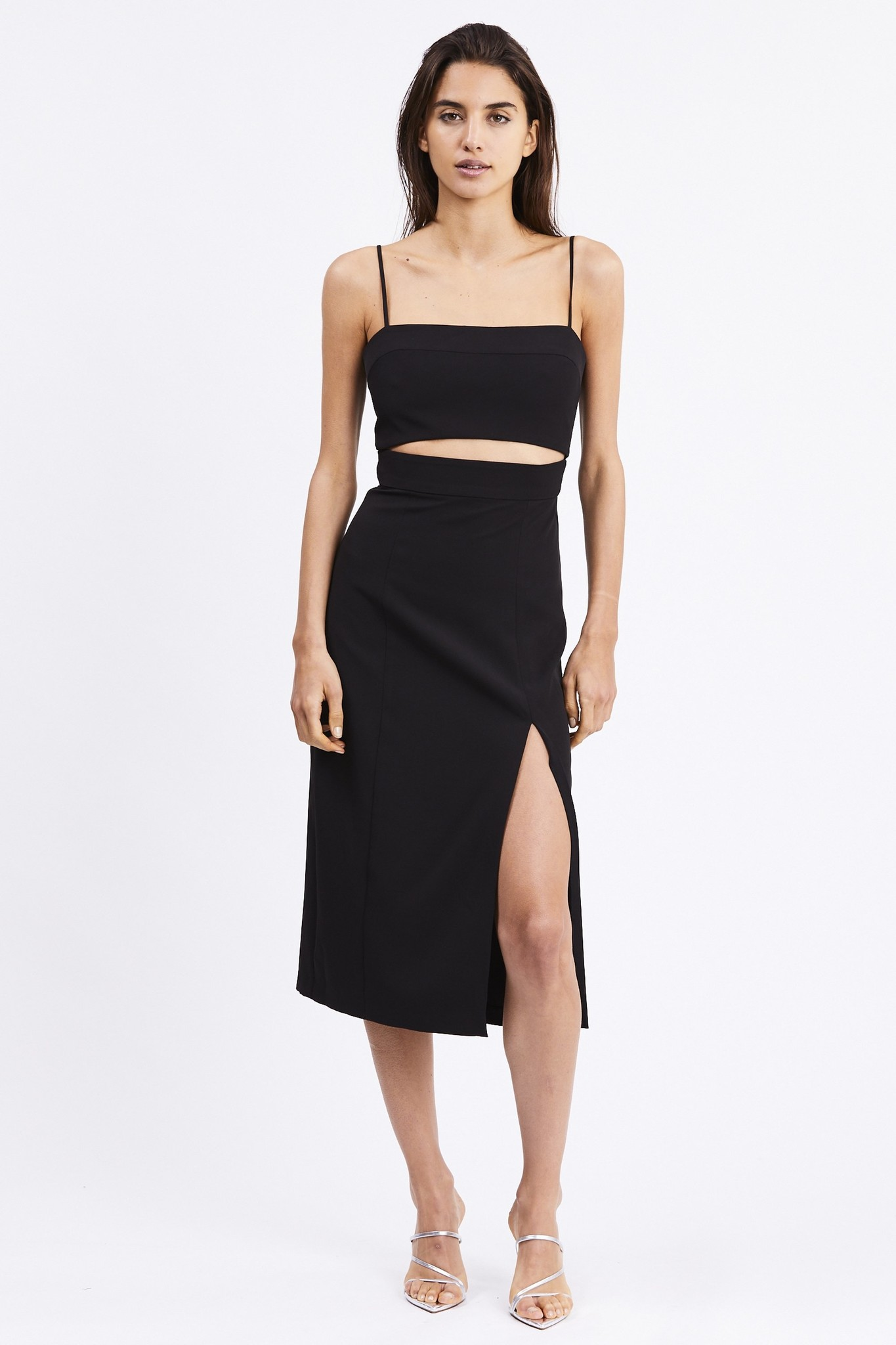 Third Form Split Up Midi Dress, Black